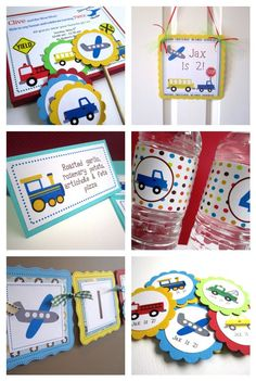 Transportation Vehicles on the Go Cupcake Toppers T015 -- Set of 12. $8.25, via Etsy.