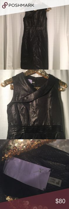 """Vera Wang Lavender Label Black Cocktail Dress Vera Wang Lavender Label Cocktail Dress.  Shimmer detail and button trim sides.  Zipper back closure and collar.  Gorgeous dress and in excellent condition.  Measures about 36"""" long.  Should fall below knees for a midi dress look.  🚫model 🚫trades. Vera Wang Dresses Midi"""