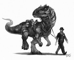 A Pinkerton getting his allosaurus ready for a man hunt. A Pinkerton getting his allosaurus ready for a man hunt. Dinosaur Drawing, Dinosaur Art, Animal Drawings, Art Drawings, Prehistoric Creatures, Dragon Art, Creature Design, T Rex, Fantasy Creatures
