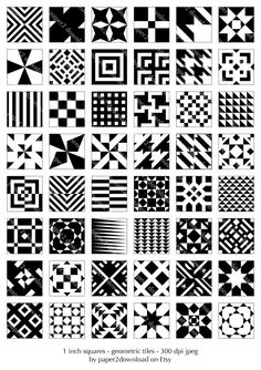 Geometric Inchies  Set of 48  Digital Clipart by paper4download