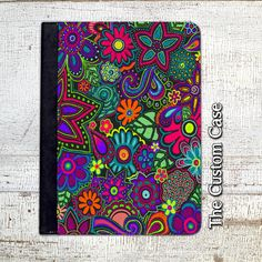 Neon Chalkboard Flowers Ipad Case Flower Doodles Ipad Case Flowers and Paisley Ipad Ipad 2/3/4 Case Ipad Air 1/2 Case Ipad Mini Case (29.99 USD) by TheCustomCase