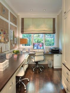 home office - love the colours and the wrap around desk. extra space for work and above head storage