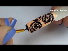 """Маникюрный дизайн """"Трафаретная роза"""" - YouTube"""