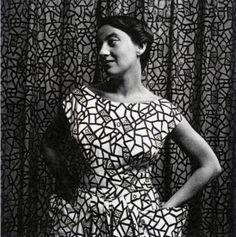 | Ezter Haraszty wearing a dress made from her design Fata Morgana, 1949 |