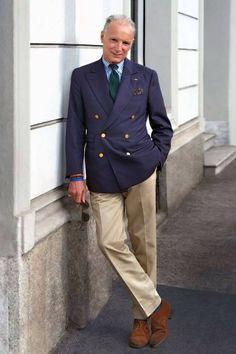 Navy DB jacket, tab collar butcher stripe shirt