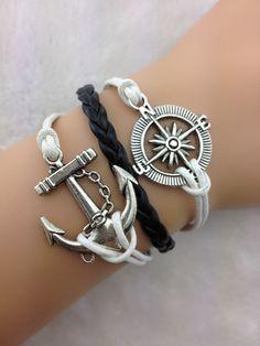 bracelet----1pcs antique silver anchor bracelet,compass bracelet,black braid bracelet  A141