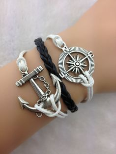 bracelet----1pcs antique silver anchor bracelet,compass bracelet,black braid bracelet  A141
