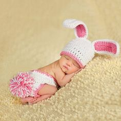 Newborn Photography Girl Discover Daily Deals For Moms Rabbit Design Baby Knitted Photography Prop Hat and Diaper Set Foto Newborn, Newborn Baby Photos, Baby Girl Photos, Newborn Photography Props, Newborn Photo Props, Baby Girl Newborn, Baby Pictures, Photography Outfits, Baby Girls