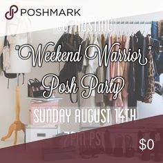 "⭐️This Sunday! Join us! ⭐️ Super excited to be co-hosting this Sunday's ""Weekend Warrior"" Posh Party! Join Me, Prtynpink, Saristo, Scblei, Rakassa, and Rheacloset in sharing and selecting our faves! See you there! ❤️🎉 Accessories"