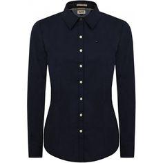 Hilfiger Denim Women Faina Poplin Shirt Navy ($63) ❤ liked on Polyvore featuring tops, shirts, pull, polka dot tops, navy blue top, poplin top, embroidered tops and poplin shirt