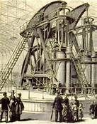 The Centennial Exposition at Philadelphia: The massive Corliss Steam Engine provided power to the thousands of machines showcased at the 1876 exposition commemorating the 100th anniversary of the U.S. Declaration of Independence...