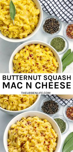 This Butternut Squash Mac and Cheese recipe is dairy-free and delicious! It's creamy and comforting, plus plant-based and healthy. Perfect vegan or vegetarian option for a weeknight dinner or holiday meal! Easy Dinner Recipes, Pasta Recipes, Delicious Recipes, Great Recipes, Vegetarian Recipes, Easy Meals, Favorite Recipes, Healthy Recipes, Fun Food
