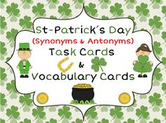 This file includes a set of 20 Task Cards around the theme of St-Patrick's Day and Ireland. The tasks include questions about antonyms, synonyms, r. Holiday Activities, Classroom Activities, Synonyms And Antonyms, 2nd Grade Reading, Vocabulary Cards, Elementary Teacher, Speech And Language, Task Cards, St Patricks Day