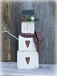 Primitive Wooden Snowman Table Sitter~Snowman Decor~Winter Decor~Christmas Decor~Mantle Decor~Primitive Home Decor~Snowmen