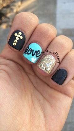 Black, teal and gold nails, with gold cross and gold glitter