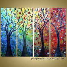 Four seasons trees multi panel painting
