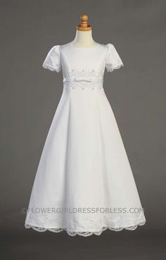 First Holy Communion/Flower Girl Style SP713T- Satin Embroidered A-Line Dress $92.00