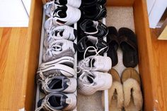 DIY Shoe organizer.  Well, my kids don't have this many shoes (they grow too fast for me to justify more than a couple pairs each!) but this would be nice to adapt to the hall closet for everyone's shoes.