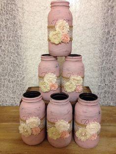 Shabby Chic Half Gallon Mason Jars by AmourVintageWedding on Etsy