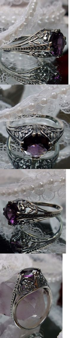 Rings 52603: *Amethyst* Art Deco Floral Sterling Silver Floral Filigree Ring Size: Mto/Custom BUY IT NOW ONLY: $34.0