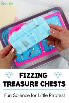 """A super fun science experiment for preschool, kindergarten, summer camp, or a pirate theme! Mix up the fizzing baking soda solution, add some treasure, freeze it, and then use vinegar to """"explode"""" the chests and reveal the hidden treasure! Summer Preschool Activities, Pirate Activities, Early Learning Activities, Preschool Lesson Plans, Preschool Science, Preschool Kindergarten, Science Activities, Fun Learning, Preschool Pirate Theme"""