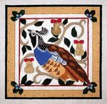 Partridge in a Pear Tree by Melissa Prince Designs    New take on a holiday favorite. This stylized bird will be at home all year long. 10″ x 10″ on 18 mesh. Contact Melissa Prince Designs for wholesale information or stores that carry her needlepoint designs.