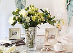 REAL TOUCH artificial flowers - Gardenia 6 stems - 4 colours available: Amazon.co.uk: Garden & Outdoors