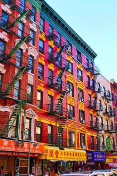 Colorful buildings, Chinatown, New York