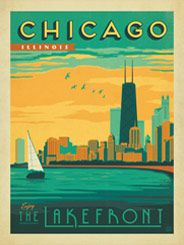 Chicago: Lakefront - After winning international acclaim for creating the Spirit of Nashville Collection, designer and illustrator Joel Anderson set out to create a series of classic travel posters that celebrates the history and charm of America's greatest cities.<br /> <br />