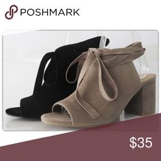 Black Lace Up Peep Toe Shoes Spring into the latest style! These black lace up shoes are perfect with dresses, skirts, and jeans. They have a comfortable low heel and an open toe. Coming soon in taupe. The NEW Boutique Shoes
