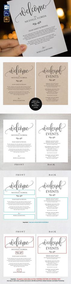 Wedding Welcome Bag Note Wpc 108. Invitation Templates