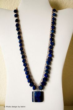 Afghan Blue Lapis Lazulie with Gold Chain and by designbybehin