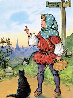 """Dick Whittington and His Cat."" Written By Richard Whittington - Art by Malcolm Warranting -  An Old Folk Tale/Story From London England - Pub. (1711)"