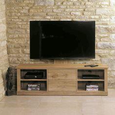 baumhaus mobel oak cantilever tv stand cor09e