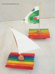 Popsicle Stick Sailboats on land