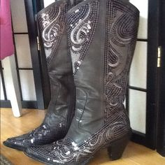 Sequined Boots Tall Sequined Western Style Boots in Pewter - size 6  (Shipping Weight is 4lbs) Helens Heart Other
