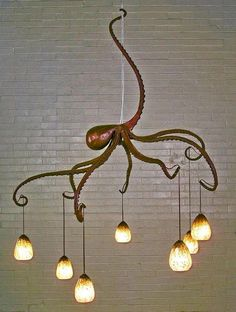 Octopus Chandelier, Creative Nautical Home Decorating Ideas, http://hative.com/creative-nautical-home-decorating-ideas/,