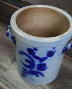 vintage handmade german cobolt blue salt glazed crock