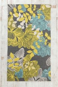 Mint, gray and yellow - I like the idea of adding mint or aqua in with yellow and gray.