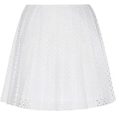 McQ Alexander McQueen Perforated cotton-poplin mini skirt (£171) ❤ liked on Polyvore featuring skirts, mini skirts, white, white mini skirt, mcq by alexander mcqueen, white skirt and short skirts