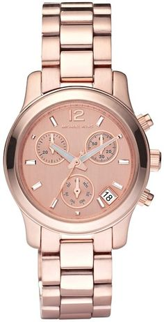 Michael Kors Watch Women's Blair Rose Gold Stainless Steel - Definitely would never be able to afford this. BUT I certainly wouldn't mind have a rose steel or slightly copper-toned watch - I already have a silver-toned one, so...