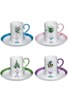 ITEM OF THE DAY: Exquisite and whimsical the fine porcelain Four Seasons Set of 4 Cups & Saucers - Share the fun with a friend, in the morning, evening or any time of day. Fine premium hand painted Porcelain just $139.95 for the set.