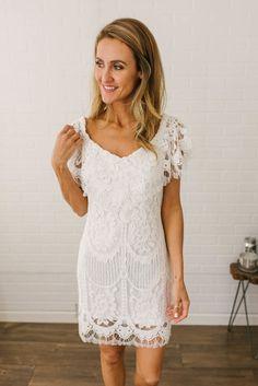 30a8c440b04a2c Unconditional Love Off the Shoulder Lace Dress - Off White Magnolia  Boutique