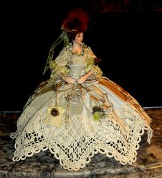 Antique Pincushion Dolls | Sarah of Savannah Pincushion collectible (repurposed tassel doll)