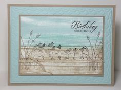 Wetlands - SU stamp set. Crumb cake, soft sky card stock. Ink, crumb cake, soft sky & pool party, direct to paper.