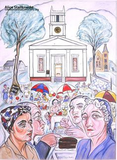 """From Alice Stallknecht's mural """"Every Man to His Trade."""" Photograph of first Stallknecht oil portrait for the """"Every Man to His Trade"""" mural. On the top left showing people at the Methodist Church. Pictured from left to right: Harriet Keene, Dr. Carrol Keene, Barbara Eldredge, Marion Ellis, Nora Harding, Chatham, MA. #chatham, #alicestallknecht, #atwoodhouse, #chathamhistoricalsociety, #mural, #muralbarn, #capcod"""