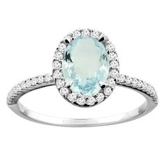 14K White/Yellow Gold Natural Aquamarine Ring Oval 8x6mm Diamond Accent 7/16 inch wide, sizes 5 - 10
