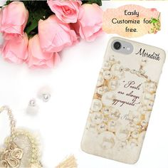 Pearl iPhone Case Pearl Quote Watercolor Phone Case Phone