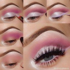 Maquillaje con Sombras rosadas para el día 1