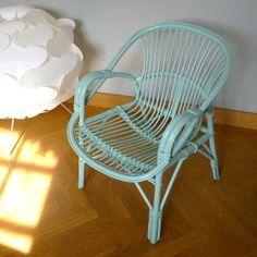 fauteuil en rotin vintage ann es 50 customized en rose poudr mat meubles pinterest. Black Bedroom Furniture Sets. Home Design Ideas